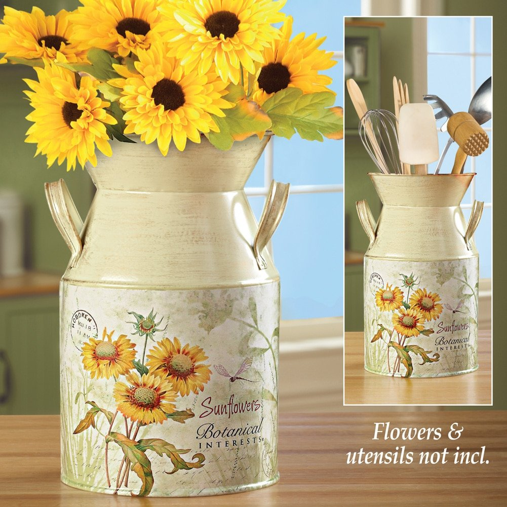 amazon com country style sunflowers milk canister kitchen u0026 dining