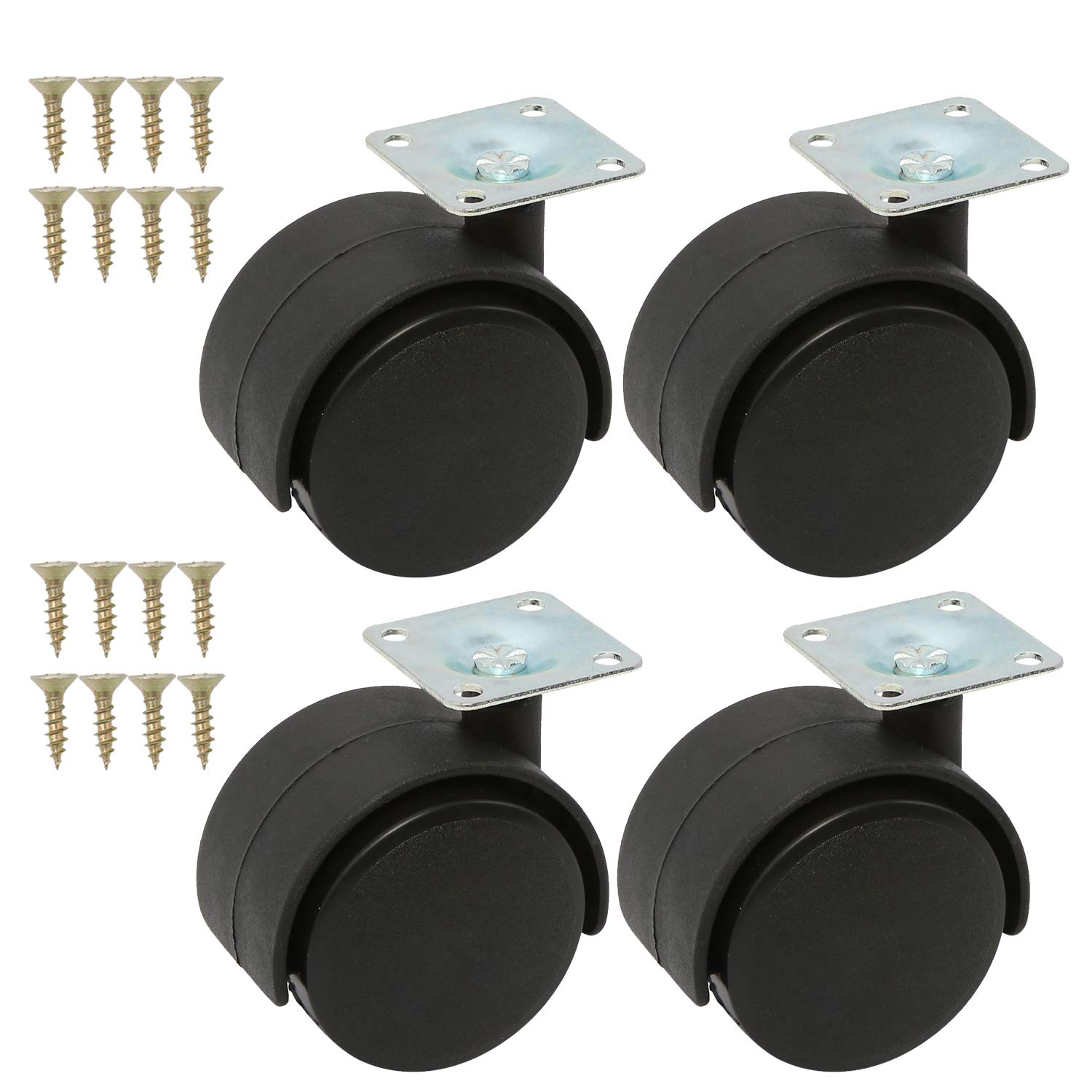 Homend 4Pack 2Inch Black Nylon Twin Wheel Swivel Plate Caster with 16 Screw,360 Degree Rotation,Set of 4