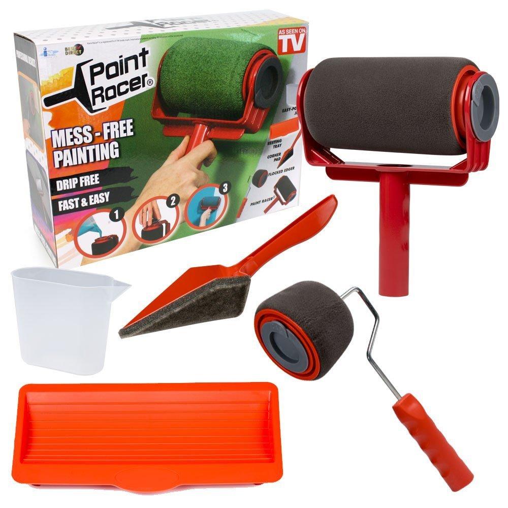 Paint Racer Set Pro + Lot d' accessoires - Rouleau de peinture Paint Racer remplissable et anti-goutte pour peinture sans salissure et sans projection. VENTEO