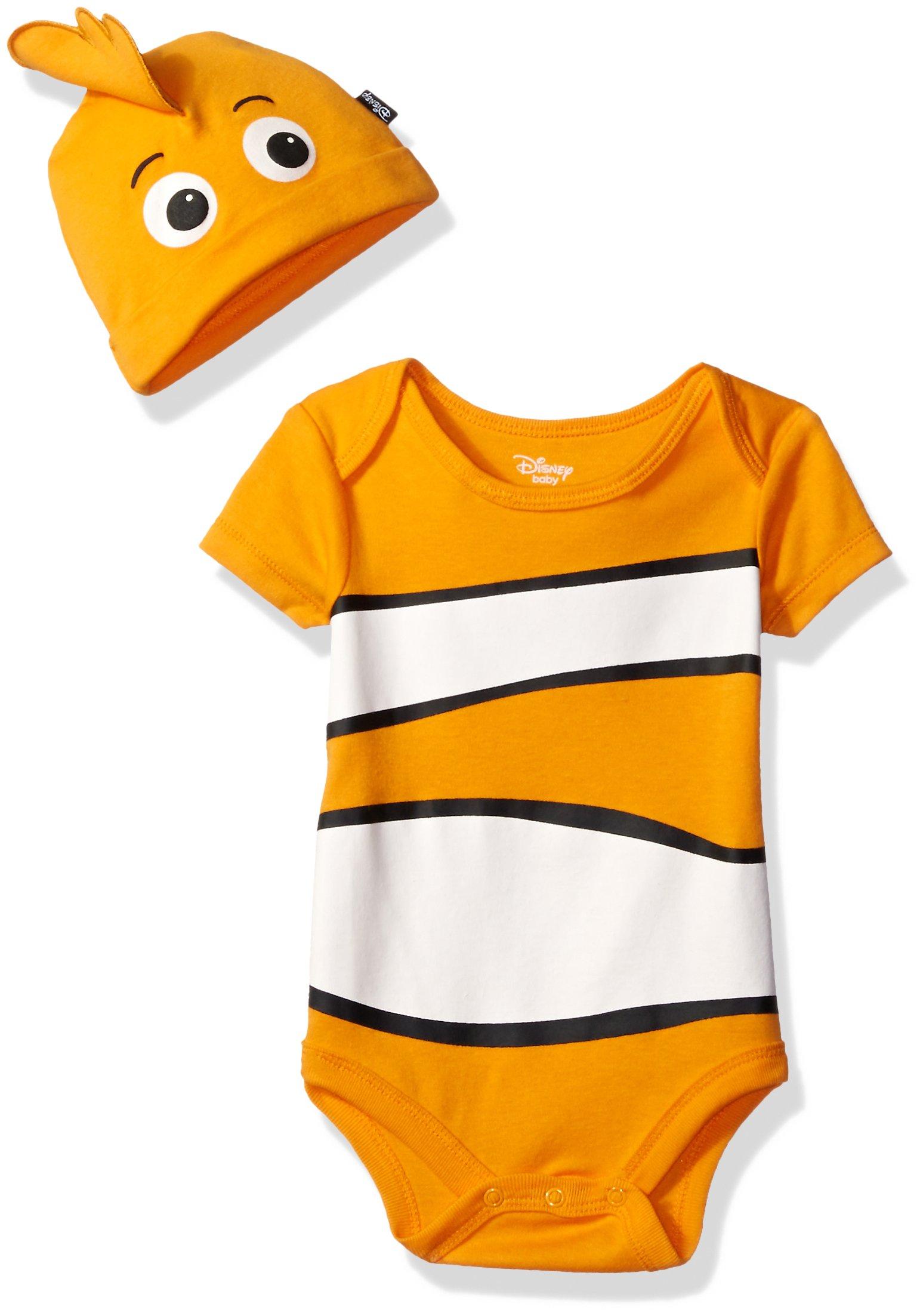 Disney Baby Boys' Finding Nemo Bodysuit with Cap Set, Orange, 3/6M