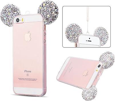 SpiritSun Coque iPhone Se, 3D Oreilles Diamant Coque iPhone 5S ...