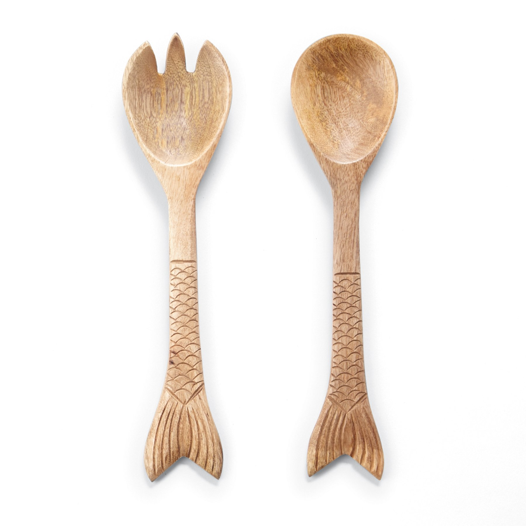 Mud Pie Wood Salad Serving Set Fish Tail Accents