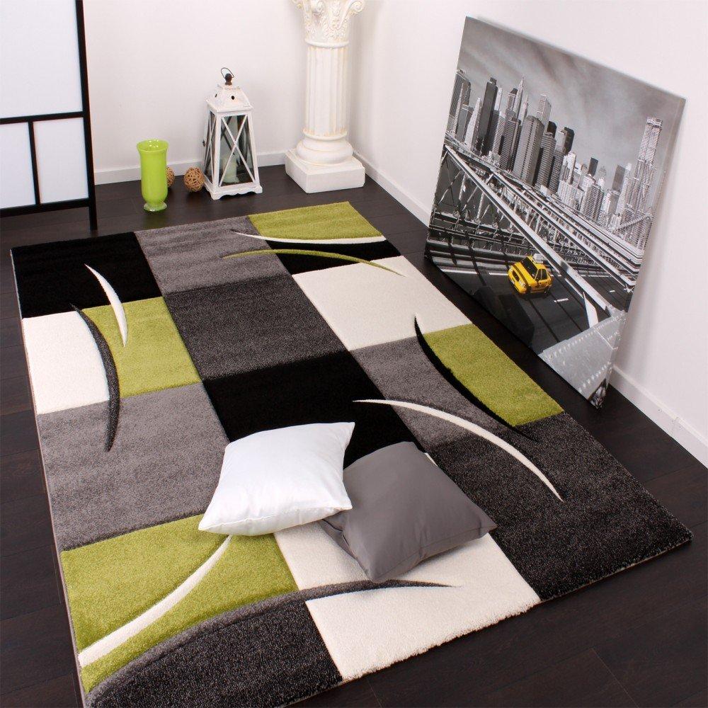 Designer Teppich mit Konturenschnitt Karo Muster Grün Schwarz ...