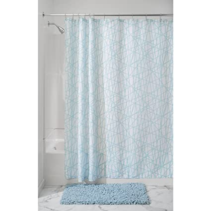 InterDesign Abstract Fabric Shower Curtain 72quot X Blue White