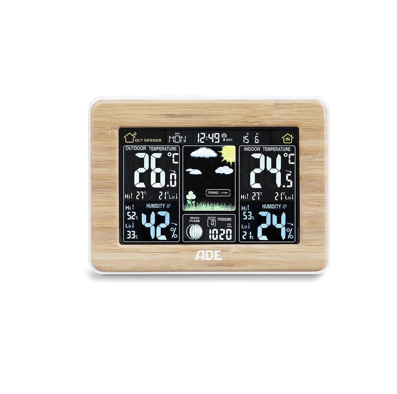 ADE WS1703 Estación meteorológica digital con radio-reloj-alarma y sensor externo, color Madera: Amazon.es: Jardín