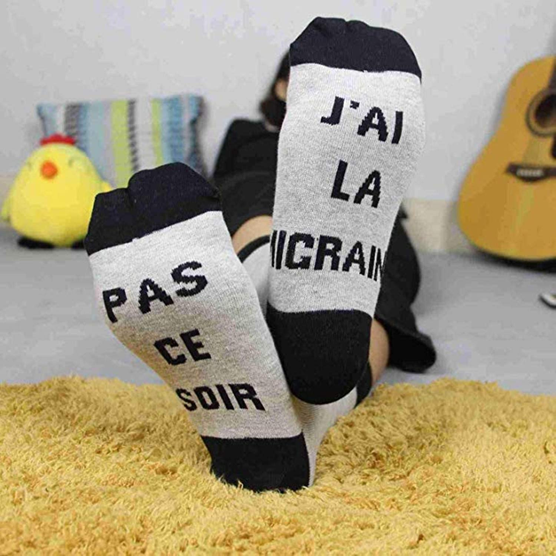 cheap4uk Chausettes Dr/ôle Si Tu vois /ça,Apporte Moi Une Bi/ère Les Chausettes Cotton /écrivent en Fran/çaise Thick Socks Pour homme femme Cadeau de No/ël chausette bi/ère Chausettes Fantaisies