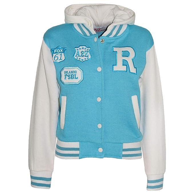 a4265f7b37f3 Amazon.com  Kids Girls Boys R Fashion NYC Fox Baseball Hooded Jacket ...