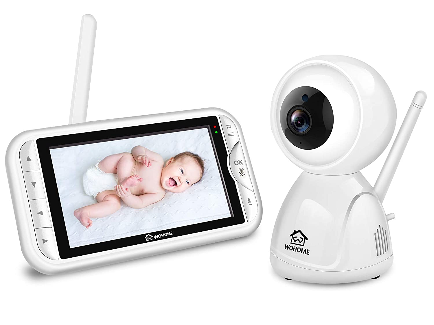 "Wohome LY-129 Video Baby Monitor with Camera and Audio, Remote Pan, Tilt, One-click Zoom, 720 HD 5""Display, 2-Way Talk, 900ft Range, Tem/sound alert, Night Vision, Thermal Monitor and Wall Mount kit : Baby"