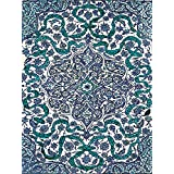 "A large blue and white Iznik pattern tile Turkey late 16th century Accent Tile Mural Kitchen Bathroom Wall Backsplash Behind Stove Range Sink Splashback One Tile 6""x8"" Ceramic, Glossy"