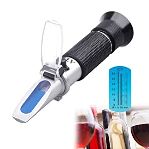 Tiaoyeer Brix Refractometer with ATC Digital Handheld Refractometer for Beer Wine Fruit Sugar, Dual Scale-Specific Gravity 1.000-1.130 and Brix 0-32% (Black)