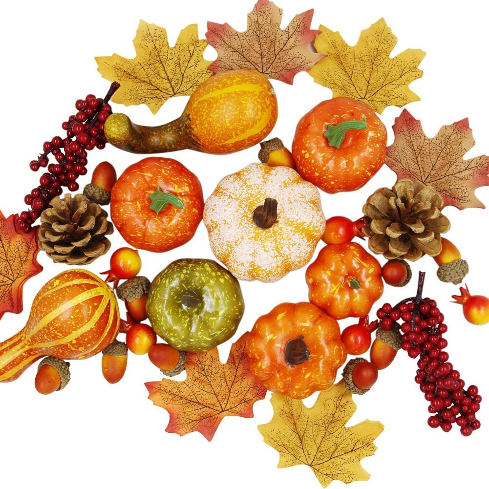 winemana Thanksgiving Harvest Mini Artificial Pumpkins, 30 Maple Leaves 10 Acorns 2 Pinecones 8 Pumpkins 2 Red Berry 5 Pomegranate Pumpkin Decoration for Fall Autumn Harvest Day, Set of 57