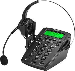 AGPtek Handsfree Call Center Dialpad Corded Telephone #HA0021 withMonaural Headset Headphones Tone Dial Key Pad & REDIAL- 1 Year Warranty