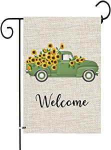 JOCACTI Sunflowers Welcome Truck Garden Flag, 12 x 18 Inches Summer Fall Double Sided Burlap Yard Outdoor Indoor Decoration Supplies, with Rubber Stopper and Clear Anti-Wind Clip