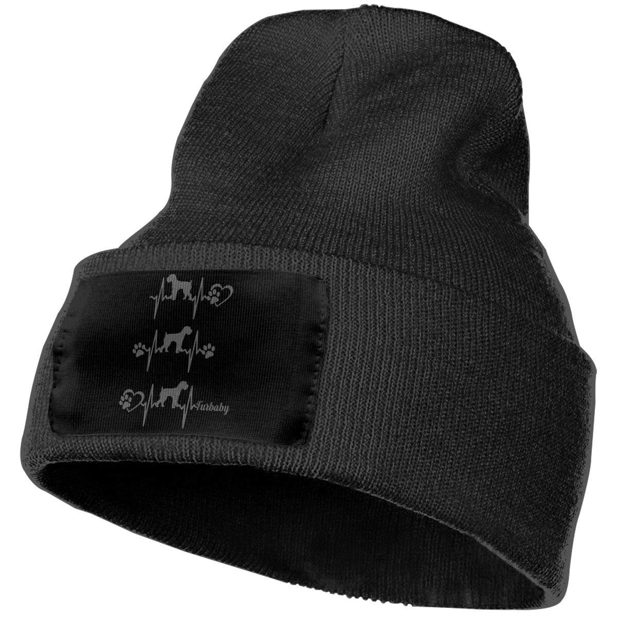 Unisex 3D Knitted Hat Skull Hat Beanie Cap Giant Schnauzer Print Heartbeat