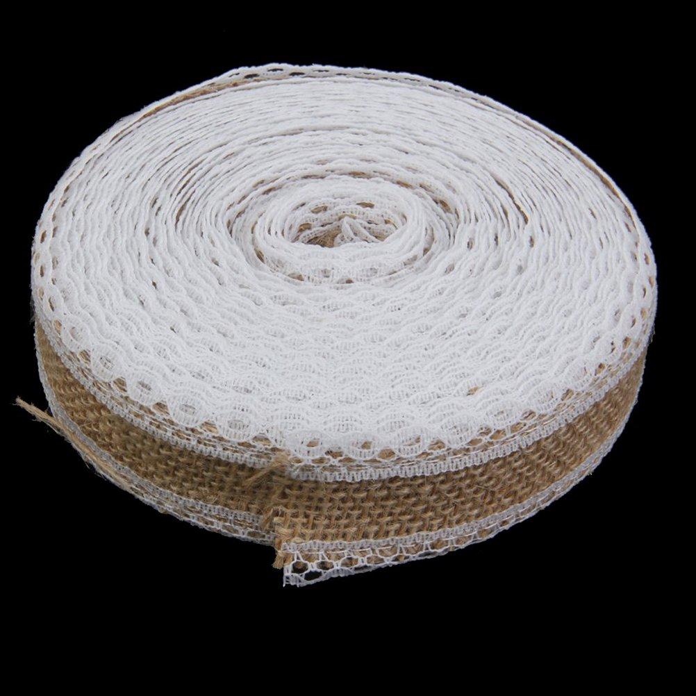 Rosenice Jute Lace Ribbon Hessian Burlap Craft Ribbon Roll 10M for DIY Crafts Home Wedding Decoration