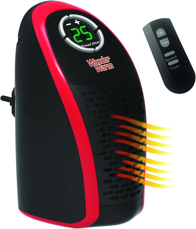 Calentador eléctrico Wonder Warm de 400 W de DMC Shop, con temperatura de 15 a 32 grados para enchufar con temporizador y control remoto, sale en la TV