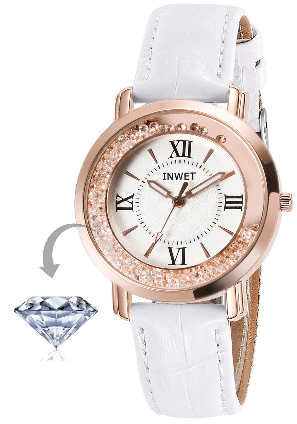 INWET Crystal Wristwatch for Women and Girls,Rose Gold Case, White Leather Strap