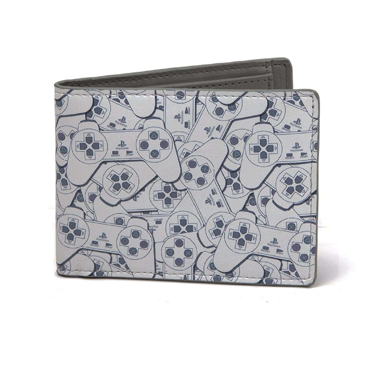 Playstation PS1 Controller all over print Official New Grey Bifold Wallet