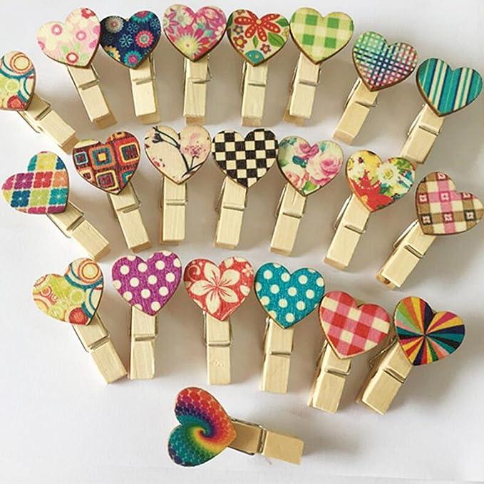 50X Mini Holzklammern W/äscheklammern Clips Zierklammern Klammern f/ür Memo Papier DIY Creative Foto Clips Deko Herz in weiss