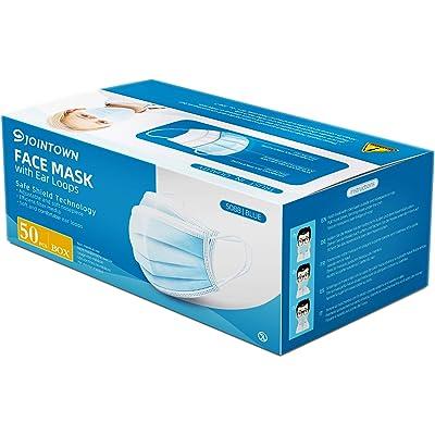 Jointown mascarilla facial de polipropileno de 3 capas, paquete de 50 piezas
