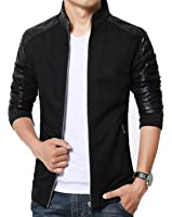 XueYin Men's Slim Fit Cotton Lightweight PU Leather Jacket Outwear