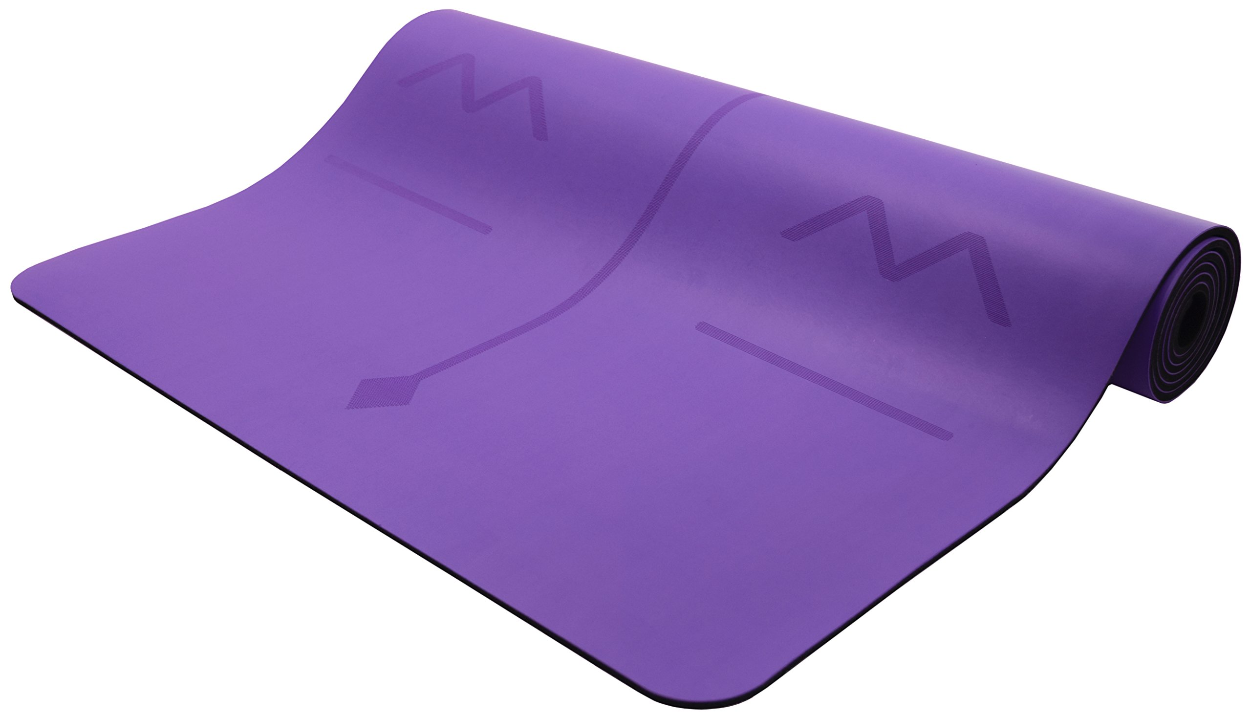 Bean Products Purple Original OMphibian Yoga Mat with Laser Etched Alignment Lines – The Best Non - Slip (Wet or Dry) Eco-Friendly Natural Rubber Base Yoga Mat with Laser Etched Alignment Lines from