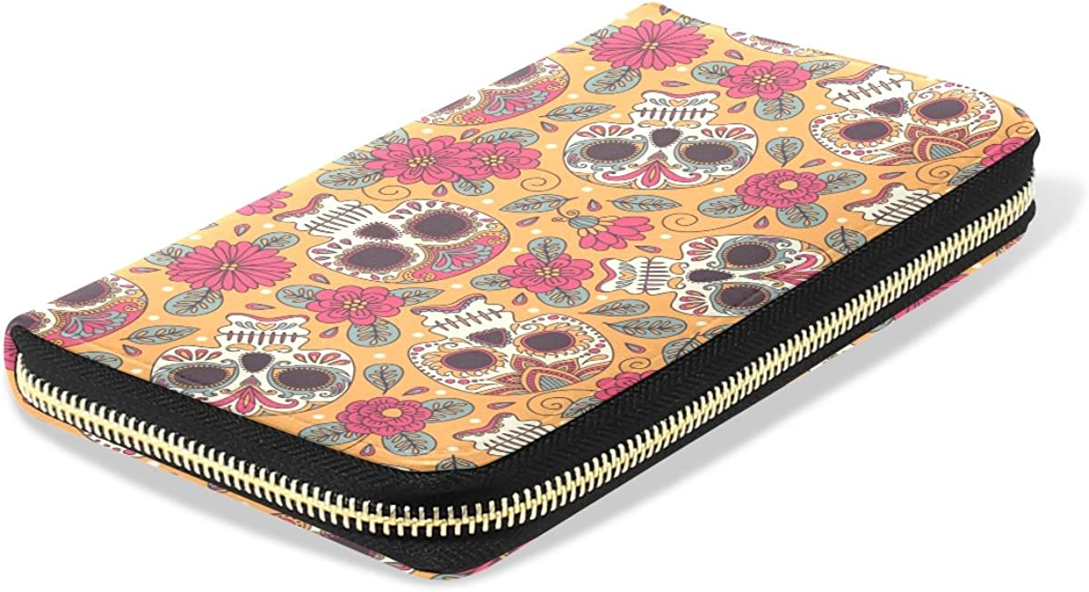 Womens Kull And Flowers Mexican Pattern Long Wallet /& Purse Case Card Holder