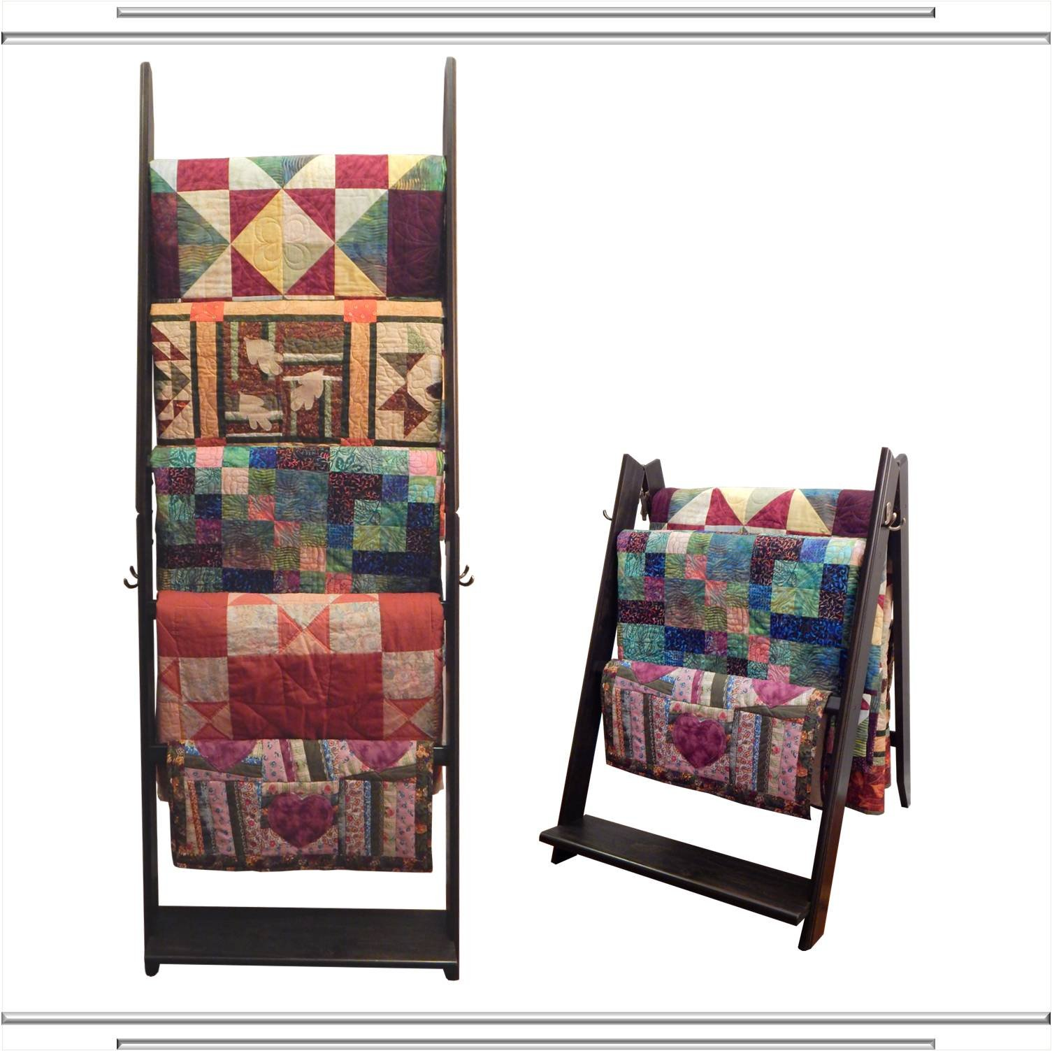 The LadderRack 2-in-1 Quilt Display Rack (5 Rung/30'' Model/Weathered Black)