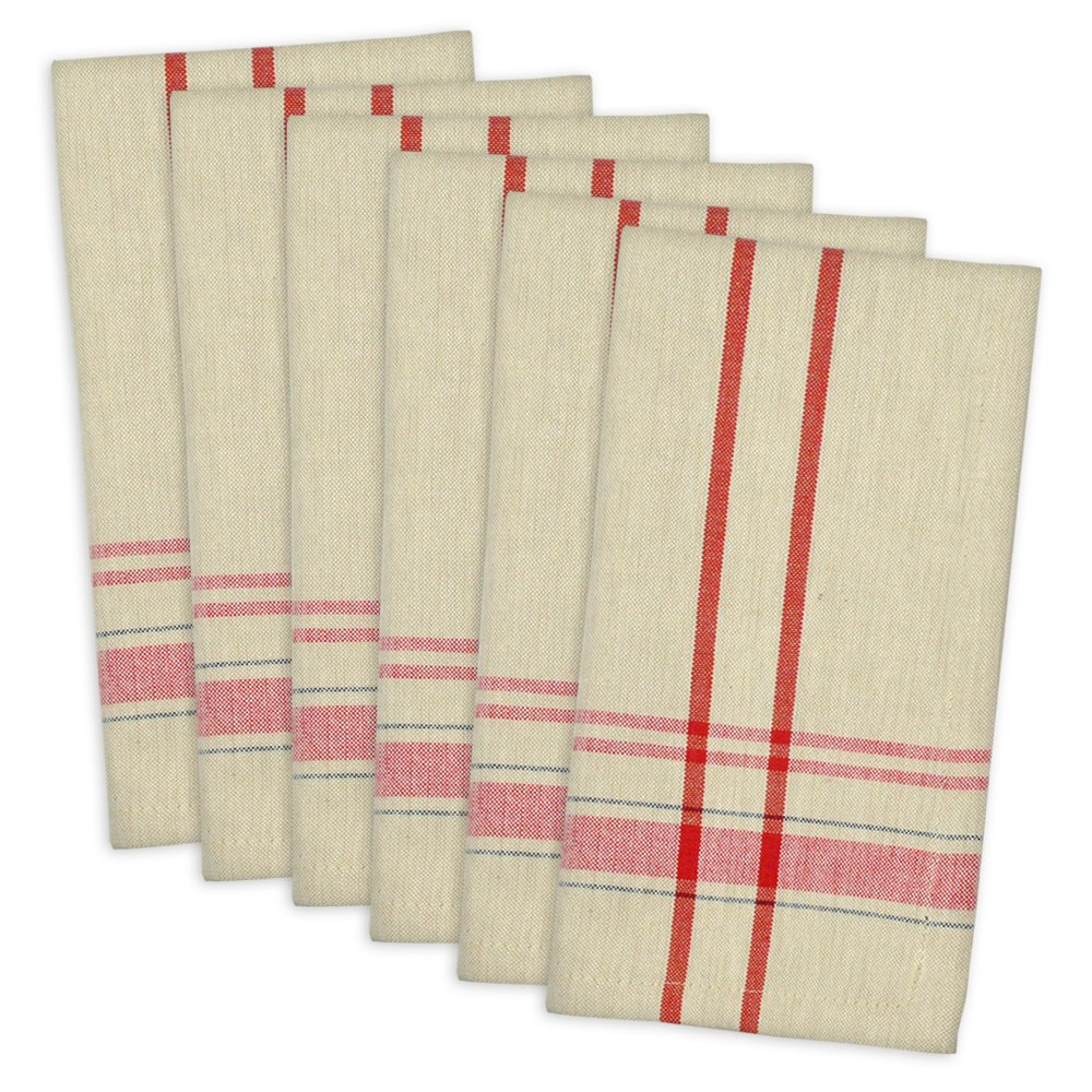 Christmas Tablescape Décor - Tango red French stripe bistro style 100% cotton everyday/dinner napkins - Set of 6