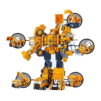 5 Pack TransTruck Transform Tractor Robot Action Figures Combine into 1 Giant Robot – Holiday, Birthday Gift Tractors Robots Toys for Kids: Toys & Games