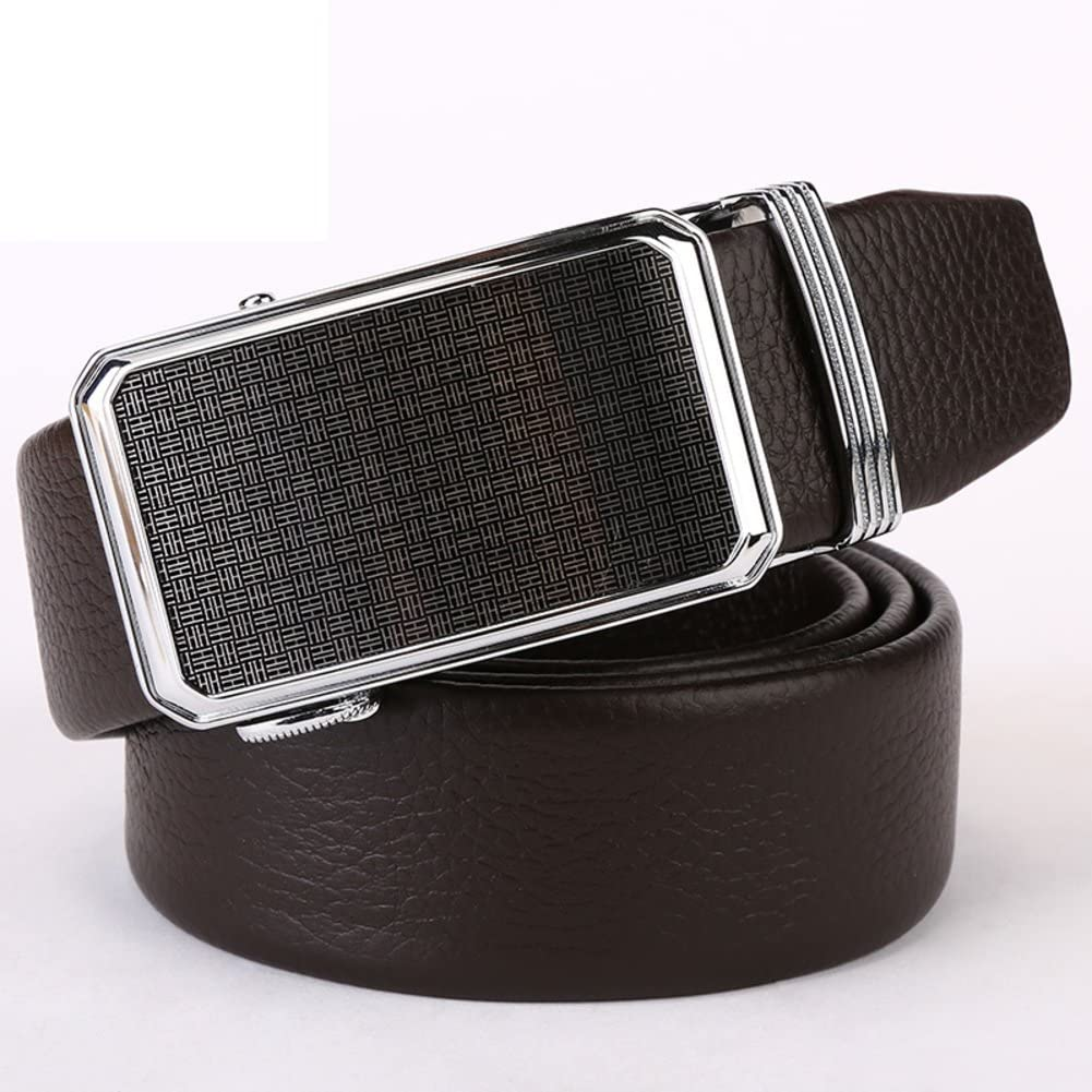 Fashion Men Auto Buckle Leather Belt Casual Mens Head Leather Belts Business Youth Middle-aged Mens Belts