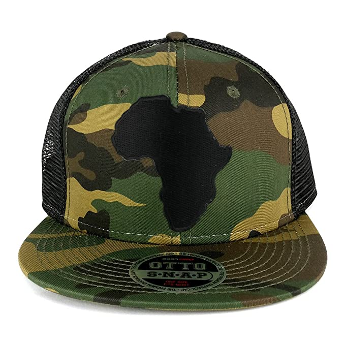 Solid Black Africa Map Embroidered Iron on Patch Camo Flat Bill Snapback  Mesh Cap - BLACK 7ea5551944e
