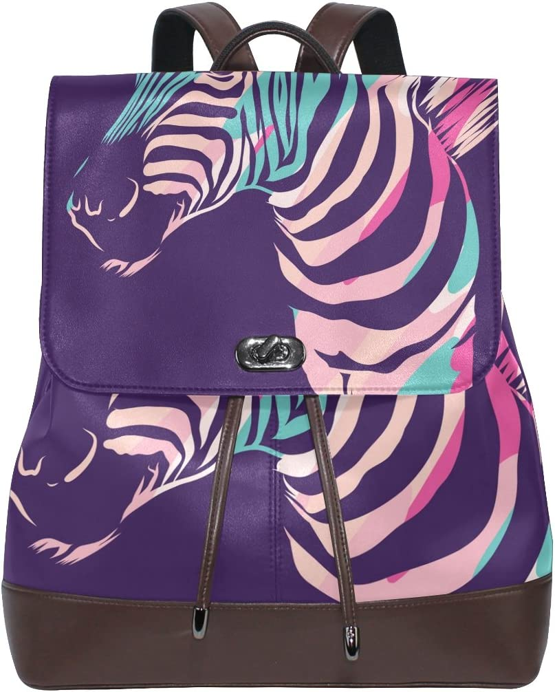 KUWT African Animal Zebra PU Leather Backpack Photo Custom Shoulder Bag School College Book Bag Casual Daypacks Diaper Bag for Women and Girl