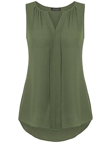Vinmatto Women's Notch Neck Sleeveless Pleated Front Chiffon Blouse Tank Top