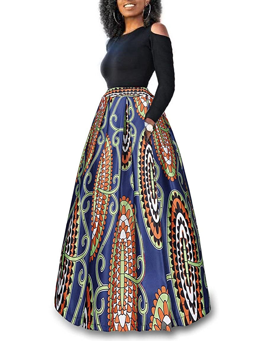 54ca0eb223b24 WO-STAR Women Cold Shoulder Two Piece African Floral Print Pockets Long  Skirt Maxi Dress at Amazon Women s Clothing store