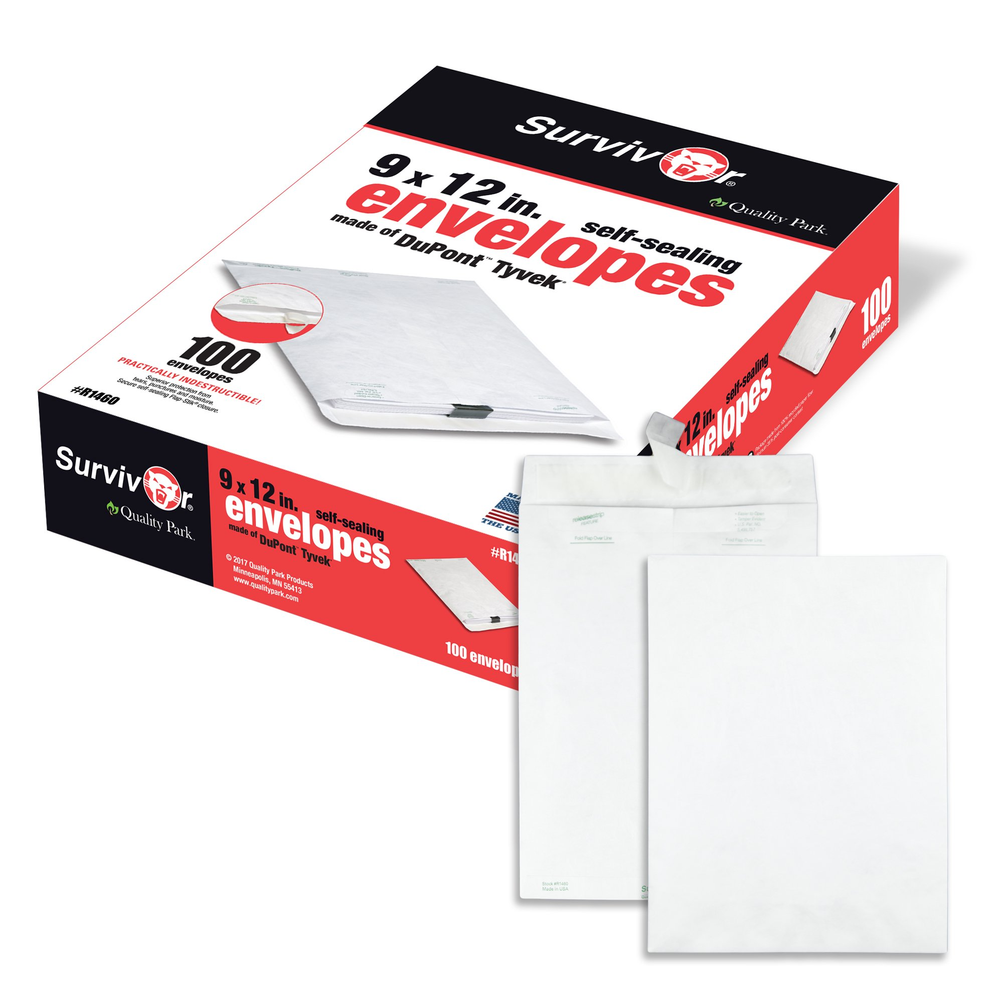 Quality Park Survivor R1460 Tyvek Mailer, 9 x 12, White (Box of 100)
