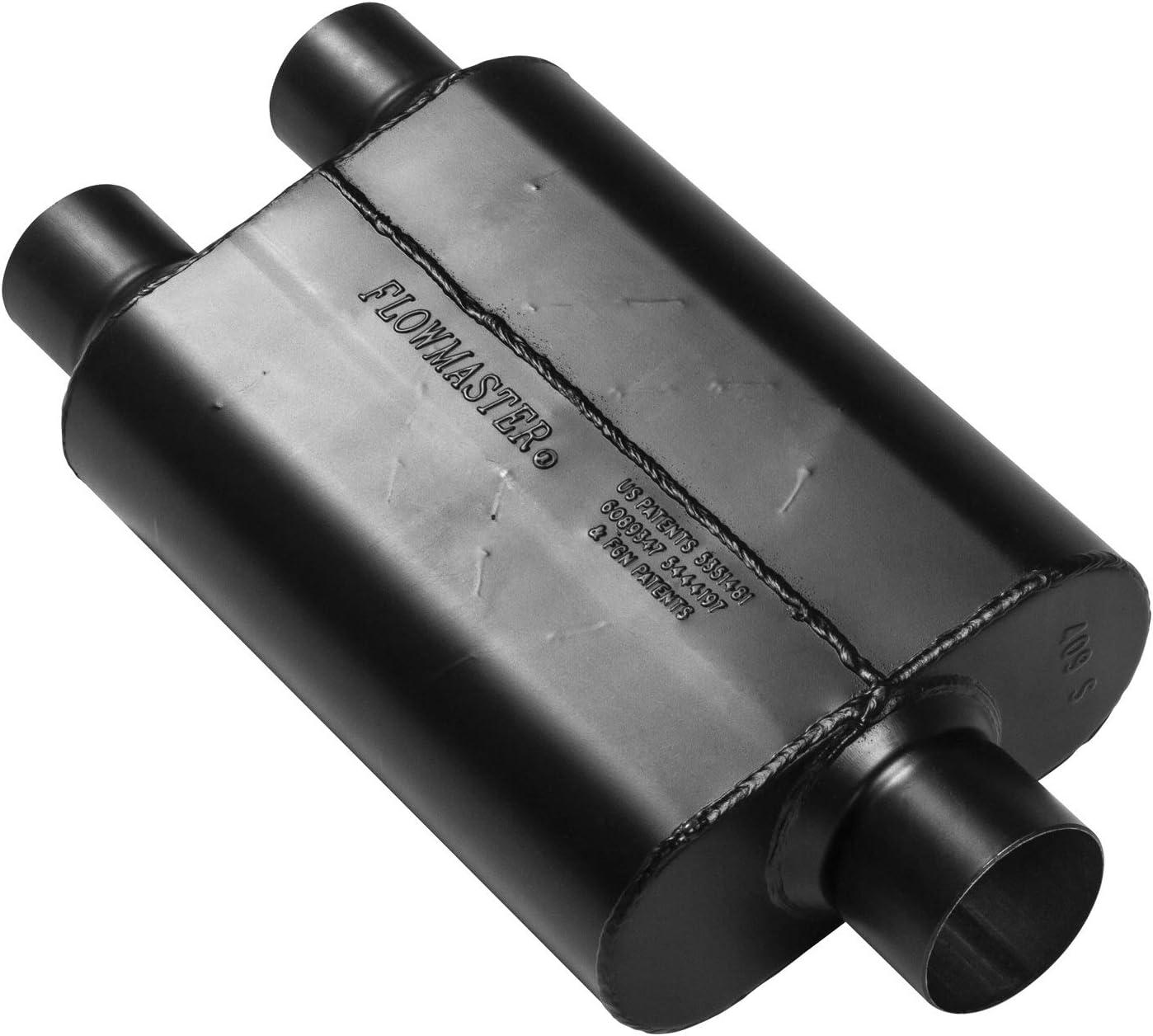 2.50 Dual Inlet // 3.00 Center Outlet Aggressive Sound Exhaust Muffler 40 Series Muffler Flowmaster 425403 40 Series Muffler Aggressive Sound,Black 2.50 Dual In // 3.00 Center Out