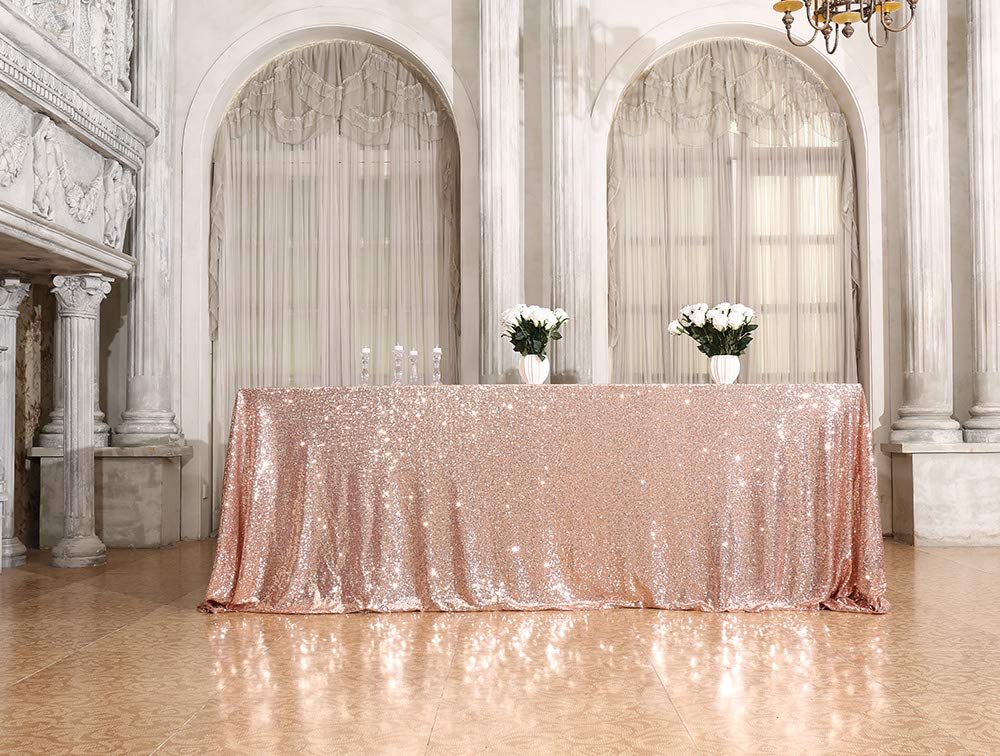 PartyDelight 60'' x 102'' Rose Gold Sequin Tablecloth for Wedding, Baby Shower, Birthday, Banquet, Christmas, and Banquet. by PartyDelight
