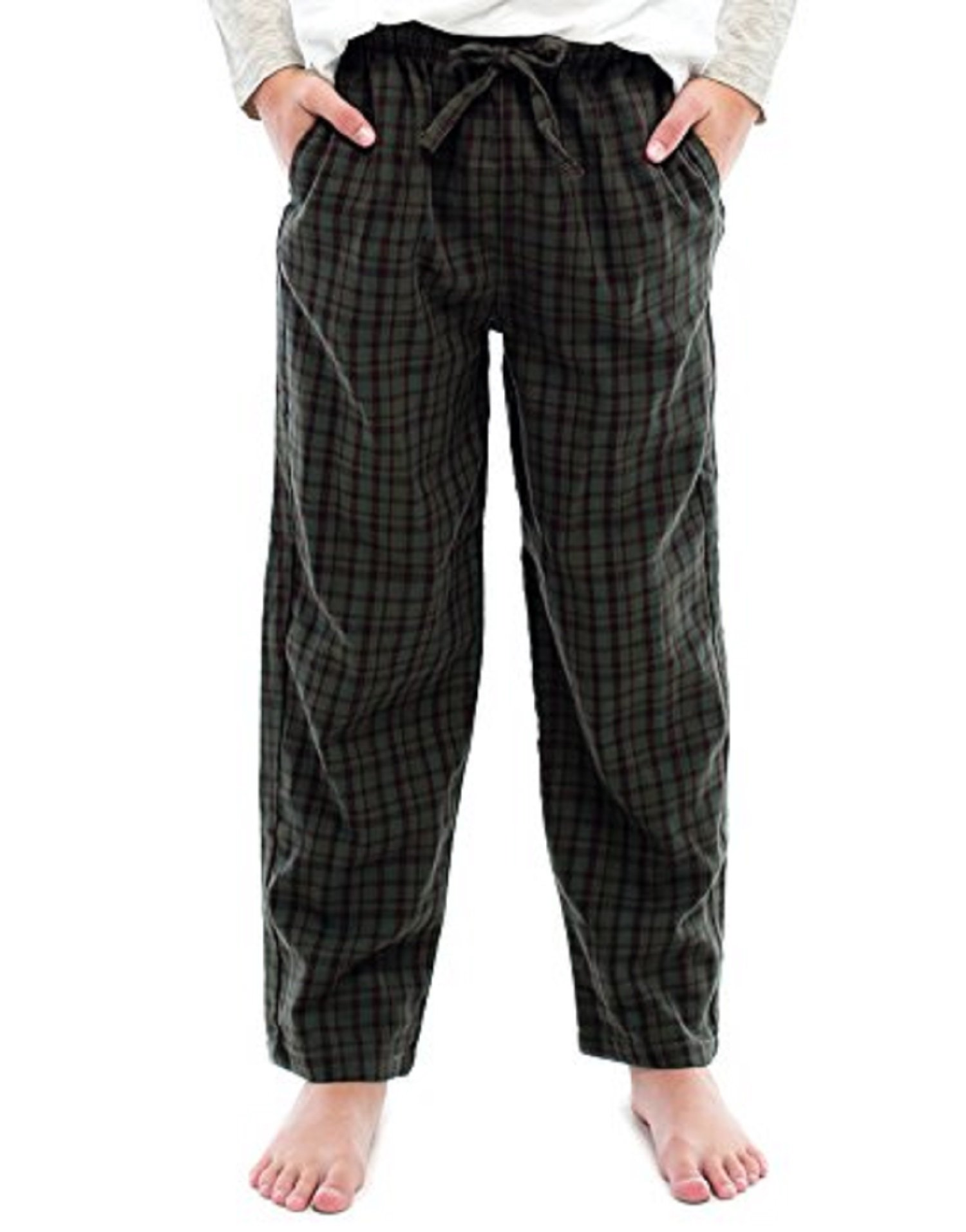 TINFL Boys Plaid Check Soft 100% Cotton Lounge Pants BP-23-Darkgreen-YM