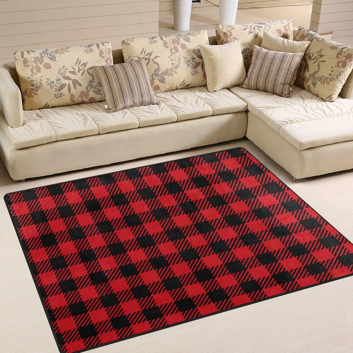 Amazon Com Area Rugs Red Black Buffalo Plaid Seamless Indoor Outdoor Floor Mat Livingroom Bedroom Sofa Carpet Non Slip Home Hotel Large Custom Area Rug Mat 6 67 X4 83 Kitchen Dining