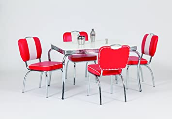 Just Americana.com American Diner Furniture 50s Style Retro Rectangular  Table 4 Chairs