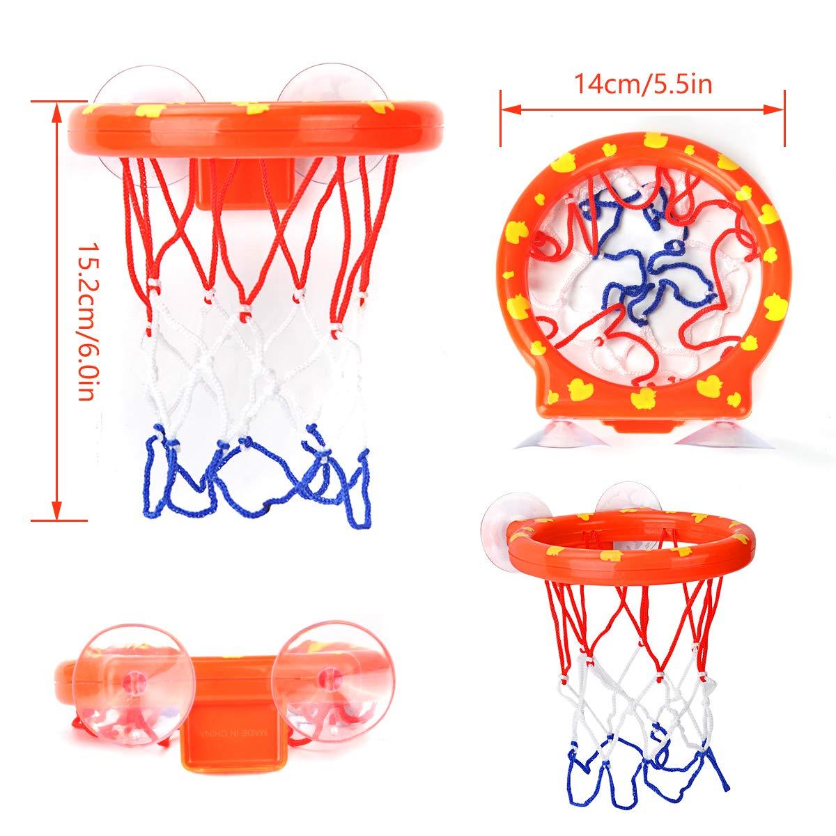 Cyfie Canasta Baloncesto Infantil Ba/ñera,Ganasta de Baloncesto Peque/ña de Pl/ástico con 3 Pelotas