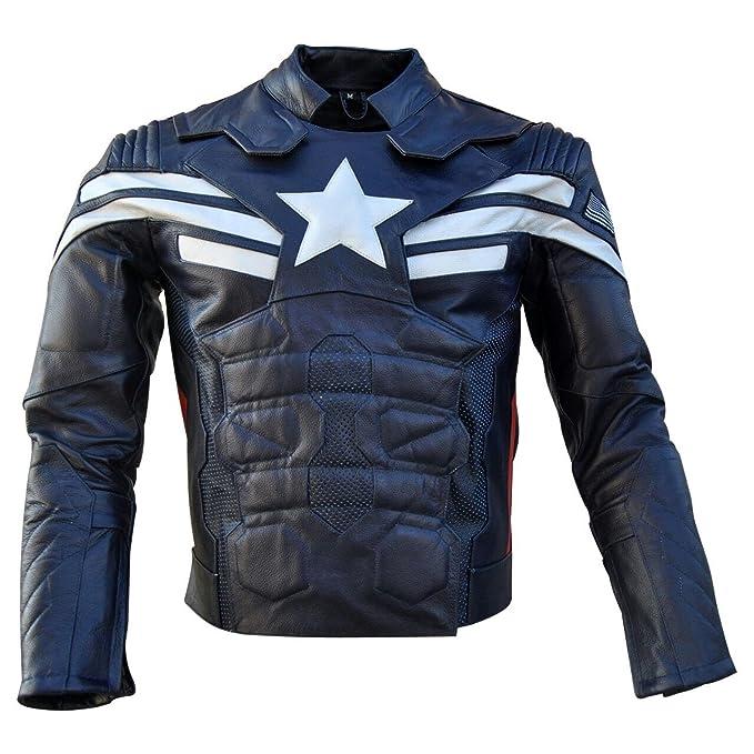 Amazon.com: leatheray hombre moda Moto Capitán América Real ...