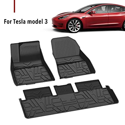 Farasla All Weather Floor Mats for Tesla Model 3 - Durable Flexible Odorless TPE Material - Non-Slip Protective Cover - Compatible with 2020 2020 2020 2020 Models(Set of 3): Automotive