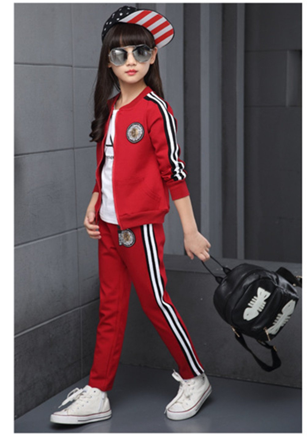 FTSUCQ Girls Zip Front Sports Tracksuits Striped Shirt Jacket Coat + Pants,Red 140 by FTSUCQ (Image #4)