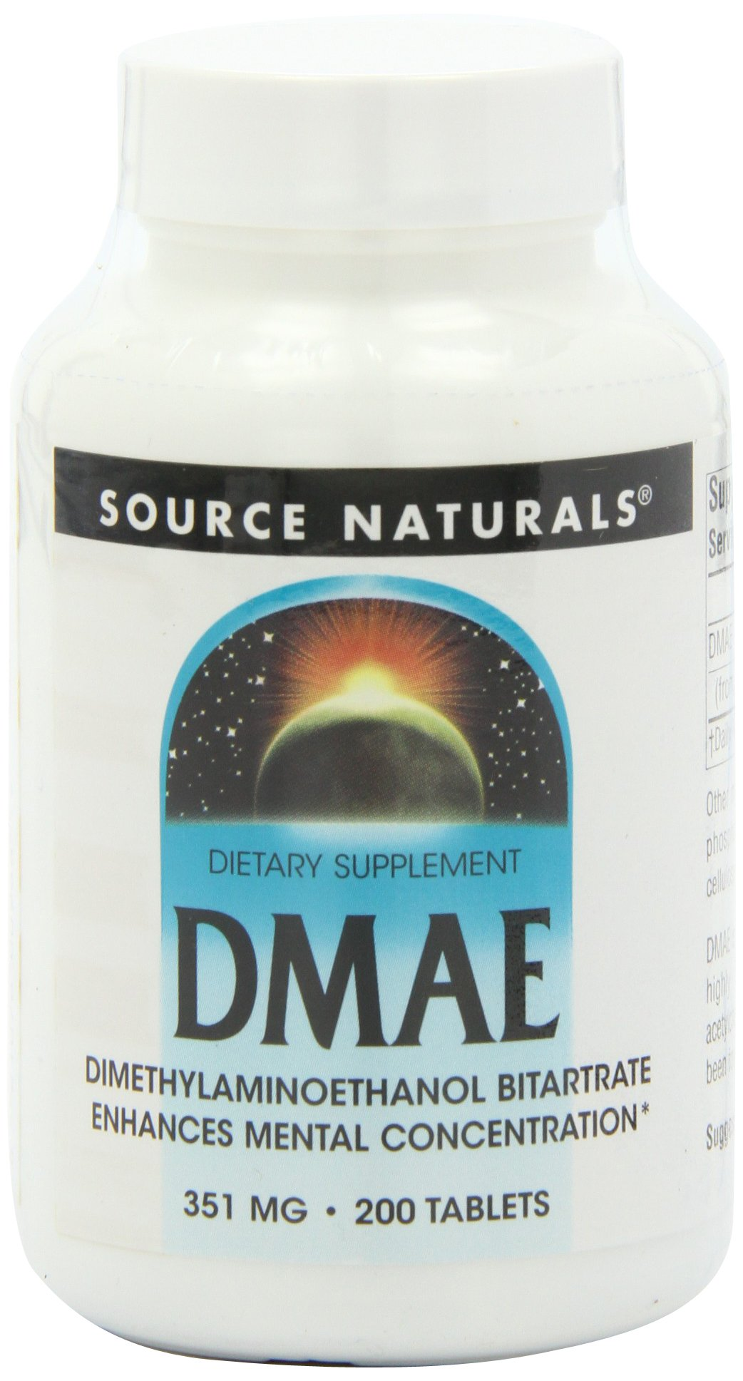 Source Naturals DMAE, 351mg, 200 Tablets (Pack of 2)