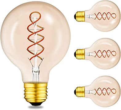 Beilf Large Globe Vintage Led Edison Light Bulbs G30 G95 E26 Base Dimmable 4w Amber Glass Warm White 2200k Flicker Free High Cri95 Edison Light Bulbs 40 Watt Equivalent 4 Pack