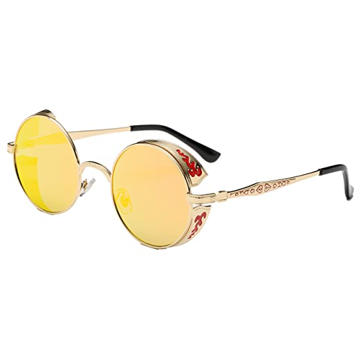 42e6f2048d Amazon.com  Simvey Vintage Hippie Round Steampunk Sunglasses Circle Metal  Frame Side Shields  Clothing