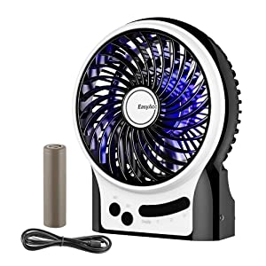 Battery Fan, EasyAcc Rechargeable Fan Portable Handheld Personal Mini USB Fan with 2600mA Battery 2-9 Hours 3 Speeds Internal and Side Light,Cooling for Traveling,Fishing,Camping - Black