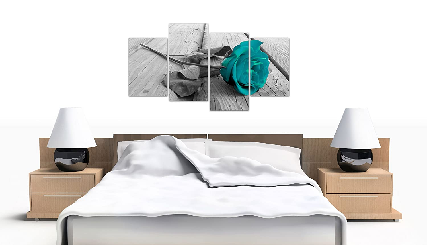 Black White Floral Flower Teal Canvas Wall Art XL 130cm Pictures 4037 Wallfillers